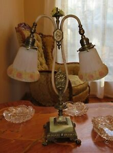 Vtg French Art Deco Era Table Lamp Chandelier Fixture Glass Shades Onyx 1930 S