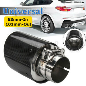 Carbon Fiber Exhaust Tip 63mm Inlet 101mm Outlet Car Muffler Pipe Universal