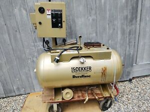 Used Dekker Air Compressor Receiver Tank 60 Gallon Horizontal And Starter Panel
