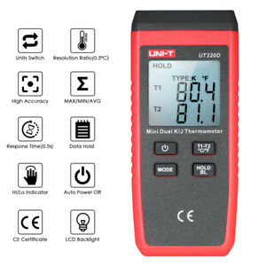 Uni t Ut320d Mini Lcd Thermometer 2 channel Type K j Thermocouple Sensor