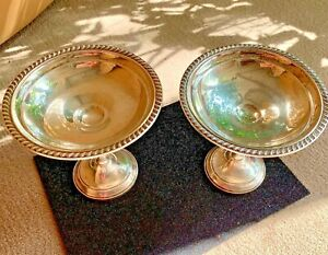 Antique Gorham Sterling Silver Weighted 6 X 6 Compote Candy Dishes