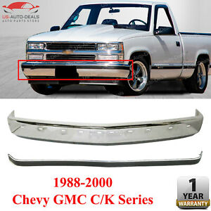 Front Bumper Face Bar Chrome With Molding Strip For 1988 2000 Chevy Gmc C K