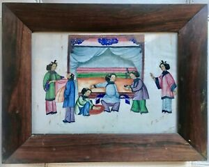 Large Antique Chinese Hand Painted Watercolor On Rice Pith Paper With Frame