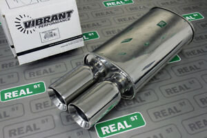 Vibrant Streetpower Oval Muffler W Dual 3 5 Round Straight Cut Tips 2 5 Inlet