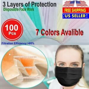 3 ply Layer Disposable Face Mask Dust Filter Safety Red White Blue Black 100pcs