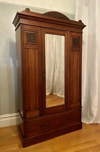 Antique Vintage English Carved Wood Armoire Wardrobe Floral Mirror Locks 86