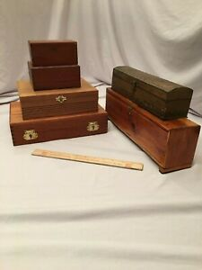 Lot Of 6 Old Wooden Boxes Cigar Box Free Shipping