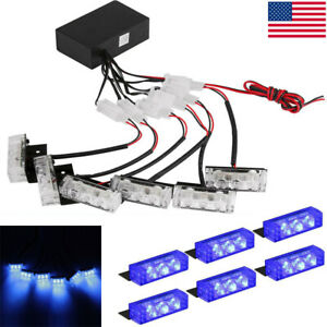 18 Blue Led Car Truck Vehicle Police Strobe Emergency Flashing Grill Lamp Bar