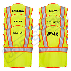 Safety Vest Staff Printed Class 2 Type R Two Toned High Vis Lime Jorestech