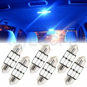 6pc 31mm Blue Car Smd Led Lamp Festoon Interior Dome Map Lights Bulb