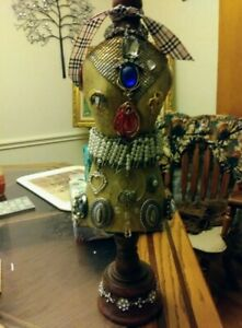 Altered Art Wood Mannequin Decorated With Vintage Jewellry 17 Inches