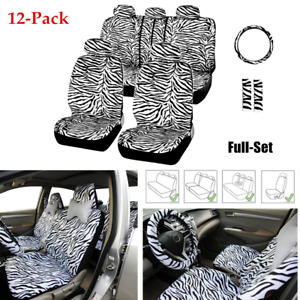 12pcs Car Seat Cover Full Set Zebra Textured Steering Wheel Cover Shoulder Guard