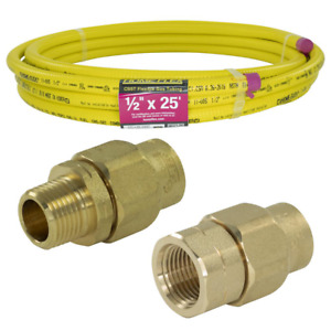 Corrugated Stainless Steel Pipe Mpt fpt Connection Kit Csst 1 2 In X 25 Ft