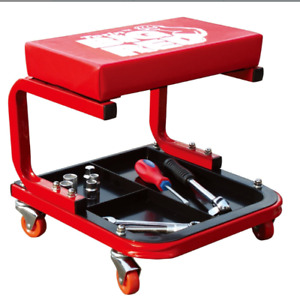 Creeper Stool Rolling Padded Mechanic Seat For Garage Shop With Tool Tray Red