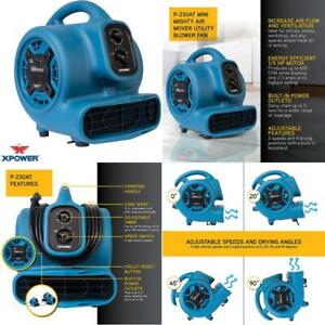 Xpower P 230at Mini Mighty Air Mover Utility Blower Fan With Built in Power Outl