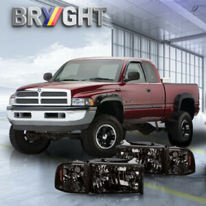 For 94 02 Dodge Ram 1500 2500 3500 Smoked Housing Headlights Amber Corner Lamps