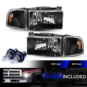 For 94 01 Dodge Ram 1500 2500 3500 Smoke Headlights W Amber Corner Lamps Pair