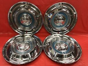 Vintage Set Of 4 1958 Oldsmobile 14 Hubcaps Jetstar 88 98 Dynamic Good Cond