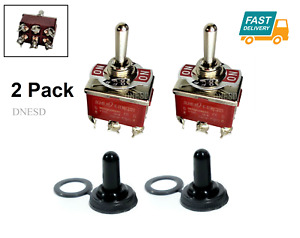 2pcs Toggle Switch Heavy Duty 20a 125v Momentary Dpdt On off on Waterproof Boot