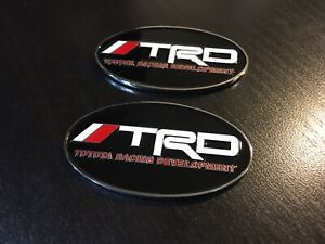2x Oval Trd Emblem Badge Stickers Snorkel 4runner Tacoma Suv Toyota 70mm X 40mm