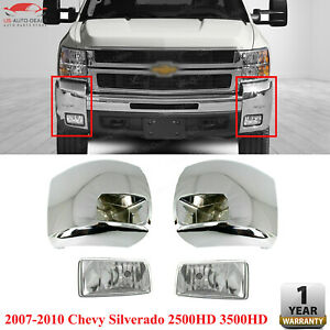 Front Bumper End Chrome Fog Light Kit For 2007 10 Chevy Silverado 2500 Hd 3500