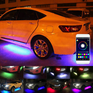 4pcs App Control Led Strip Under Car Tube Underglow Underbody System Neon Lights