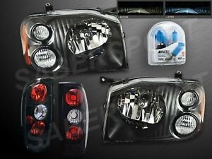 Pair Black Headlights W Nokya 7000k Taillights For 2001 2004 Nissan Frontier