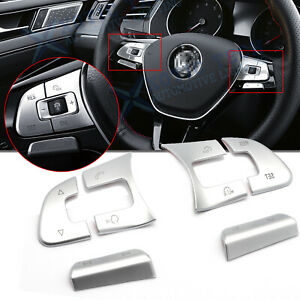 For Volkswagen Vw Abs Chrome Steering Wheel Control Button Overlay Decor Trim 6x