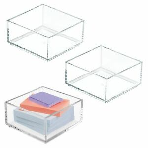 Mdesign Plastic Stackable Office Drawer Organizer 4 Square 3 Pack Clear