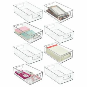 Mdesign Plastic Stackable Home Office Storage Organizer 6 Wide 8 Pack Clear