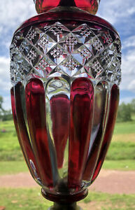 Antique Art Deco Etched Cranberry Glass Crystal Table Lamp W Milk Glass Shade