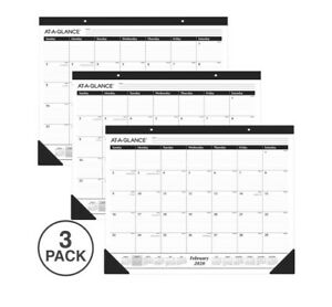 Pack Of 3 Calendars 2020 At a glance 22 X 17 Monthly Desk Pad Calendar Year