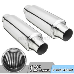 2x 2 In out 12 Overall Universal Car Exhaust Turbine Muffler Resonator Us
