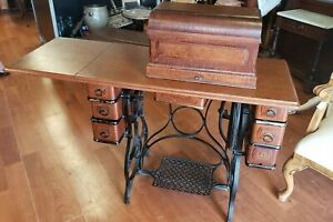 Antique Sewing Machine Standard Foot Treadle Oak 7 Drawer Extras 1894 We Ship