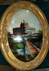 Antique Convex Glass Reversed Painted Picture W Wood Frame