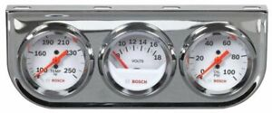 Bosch 2 Mechanical Triple Gauge White Chrome Bezel New Fst8208 Warranty