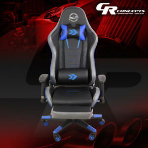 Nrg Rsc g100bl Reclinable Back Office Racing Gaming Chair Seat W leg Rest Blue