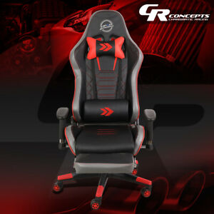 Nrg Rsc g100rd Reclinable Back Office Racing Gaming Chair Seat W leg Rest Red