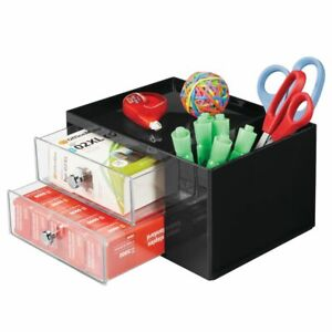Mdesign Plastic Office Storage Caddy Desk Organizer 4 Sections Black clear