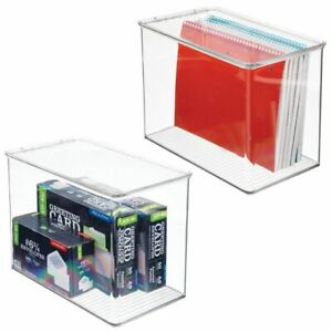 Mdesign Tall Plastic Desk Organizer Bin Box For Home Office 2 Pack Clear