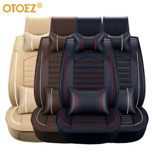 Car 5 Seat Covers Full Set Waterproof Leather Universal For Auto Sedan Su
