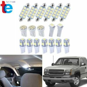 18pcs Led Interior License Light Package Kit White For Chevy Silverado 1999 2006
