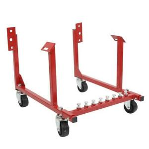 Red Engine Cradle Stand 1000lbs Dolly For Chevy Chrysler Chevrolet Swivel Wheels
