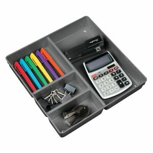 Mdesign Plastic Office Supply Drawer Organizer Tray 2 25 Deep Charcoal Gray