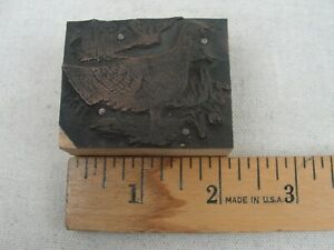 Vintage Letterpress Printers Plate turkey Hen Copper Wood