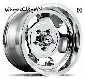 15 X7 Polished Us Mag Indy U101 Wheels Fits Camaro El Camino Nova Ss 5x4 75