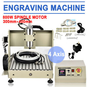 4 Axis Cnc 3040t Router Engraver Wood Milling Cutting Machine Ball Screw 800w Ce