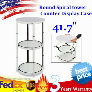 41 7 Round Portable Aluminum Spiral Counter Display Case W Panel Shelves White