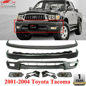 Front Bumper W Bracket Filler Valance Fog Light Kit For 2001 2004 Toyota Tacoma