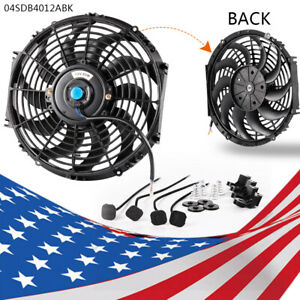Fan 12 Universal Slim Pull Push Electric Radiator Cooling 12v Mount Kit New